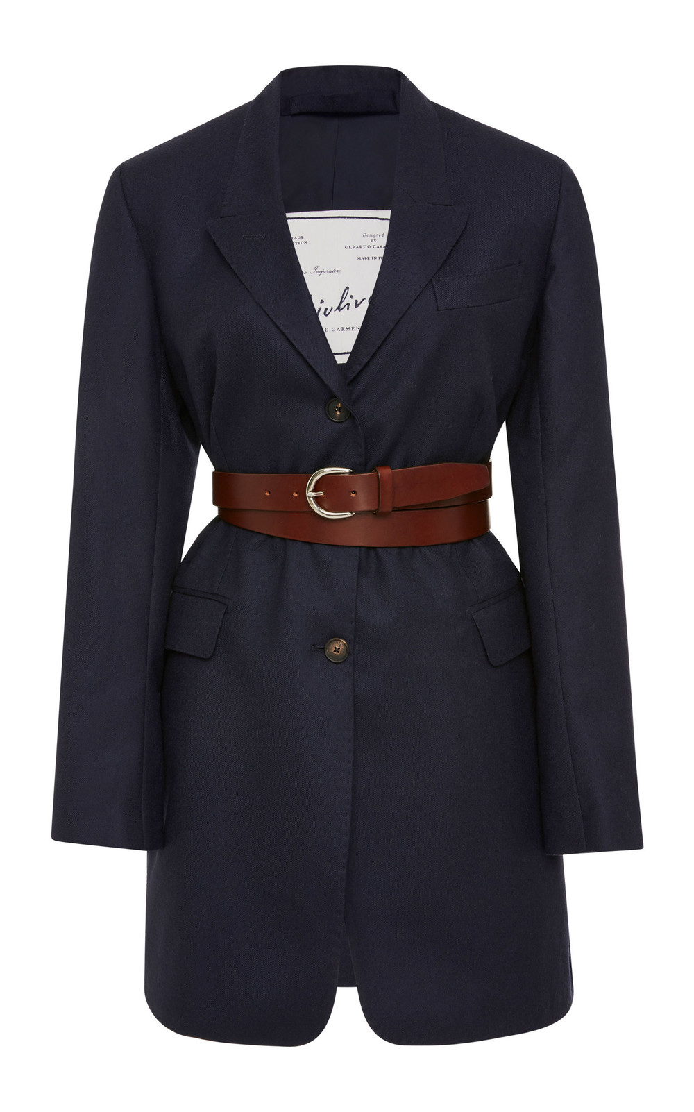 Giuliva Heritage Collection Karen Belted Wool-Crepe Blazer in blue