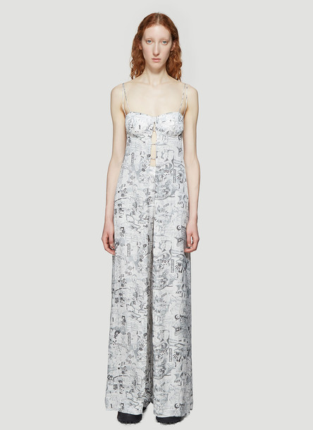 Off-White Printed Long-Line Top in White size IT - 40