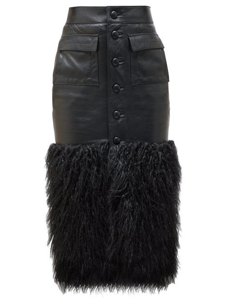 Saint Laurent - Faux Fur Trim Leather Skirt - Womens - Black