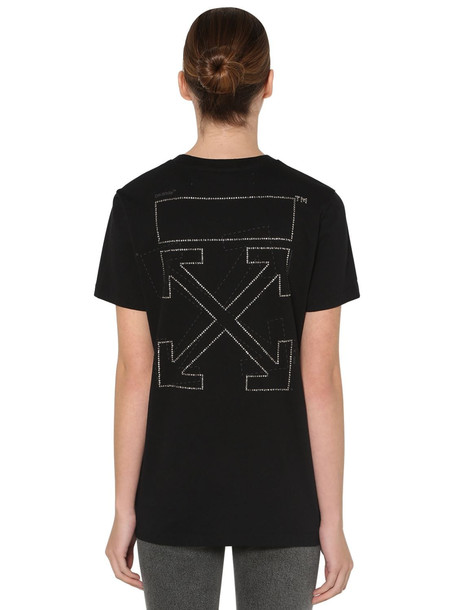 OFF WHITE Strassed Off Cotton Jersey T-shirt in black