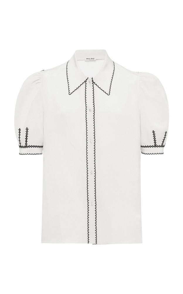 Miu Miu Embroidered Crepe De Chine Puff-Sleeve Top in white