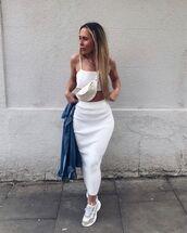skirt,white skirt,midi skirt,bodycon skirt,white top,crop tops,sneakers,denim jacket