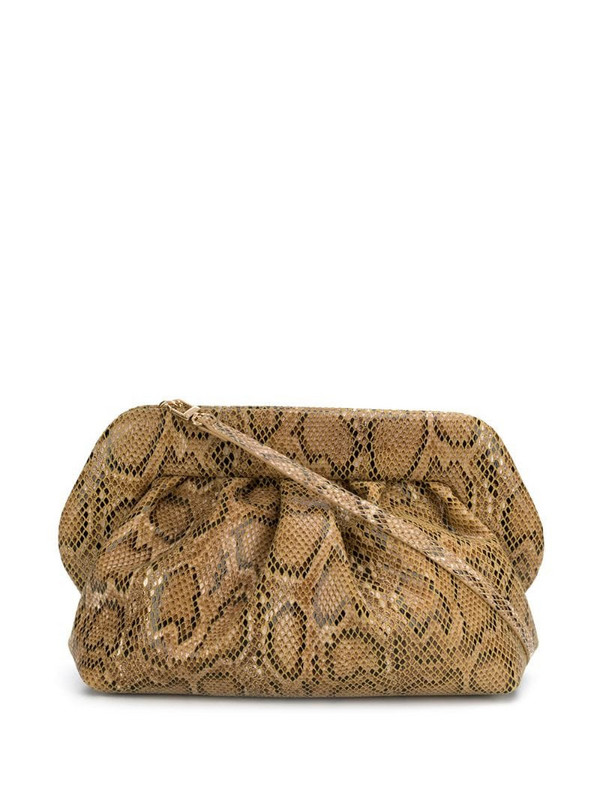 Themoirè snakeskin effect clutch in neutrals