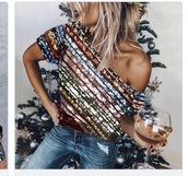 top,sequin one shoulder