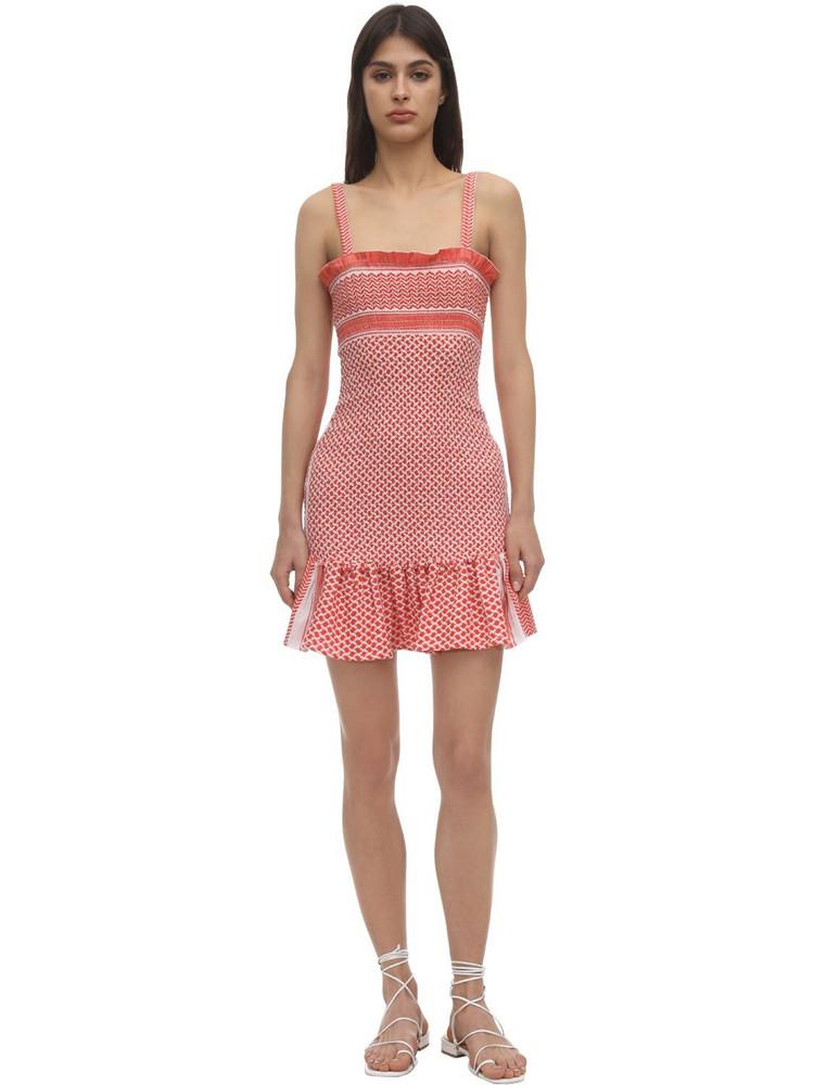 CECILIE COPENHAGEN Judith Smocked Cotton Mini Dress in coral