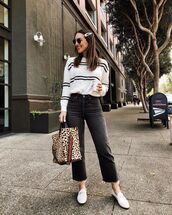 jeans,black jeans,high waisted jeans,cropped jeans,loafers,gucci bag,white sweater