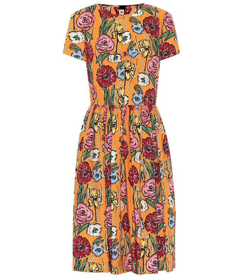Marni Floral cotton midi dress in orange