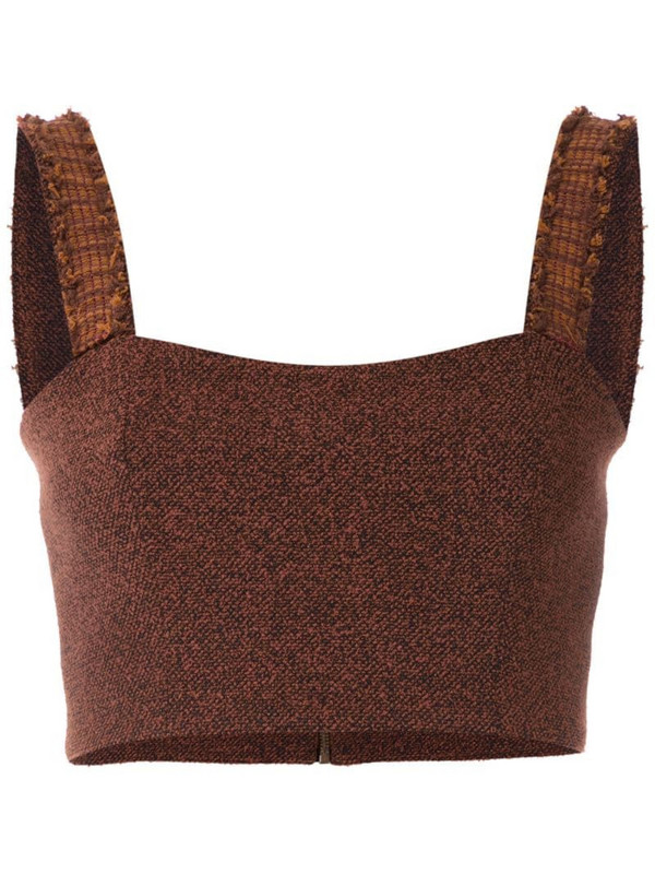 Framed Match cropped top in brown