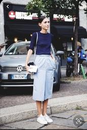 skirt,diletta bonaiuti,fashion week 2014,milan fashion week 2014,vintage,fashion week,50s style,italian,italy,light blue,pinstripe skirt