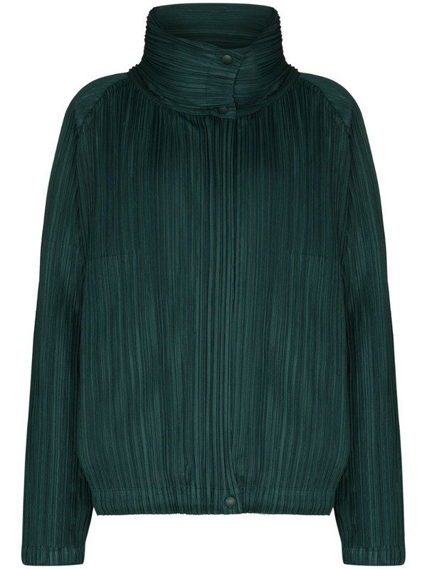 Pleats Please Issey Miyake plissé-effect zip-up bomber jacket in green