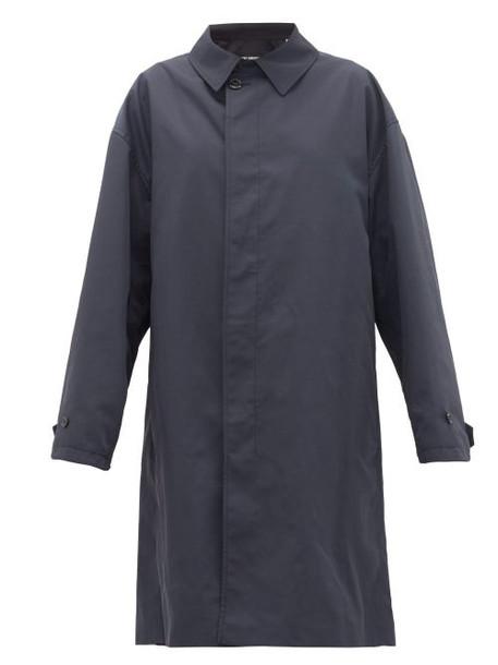 Raf Simons - Single-breasted Gabardine Car Coat - Womens - Blue