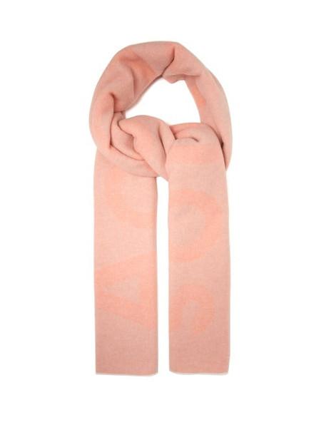 Acne Studios - Toronty Logo-intarsia Wool-blend Scarf - Womens - Pink