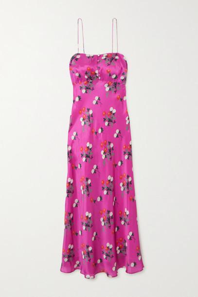 BERNADETTE - Florence Floral-print Silk-satin Midi Dress - Fuchsia