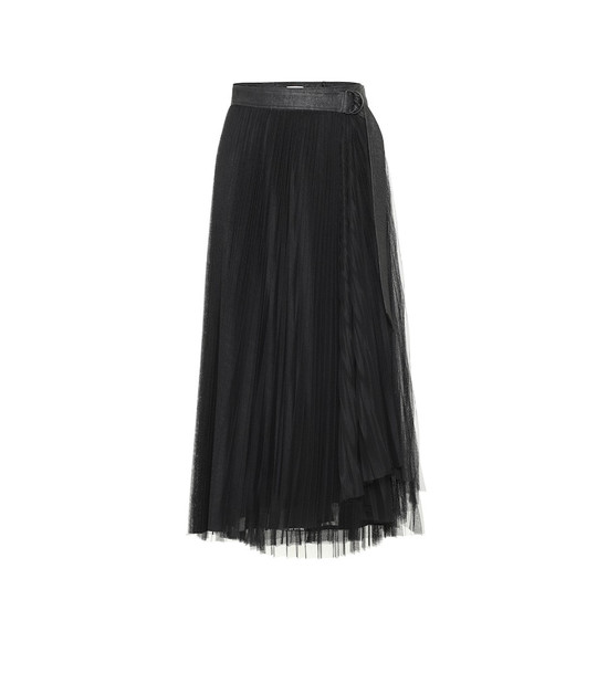 Brunello Cucinelli Leather-trimmed tulle skirt in black
