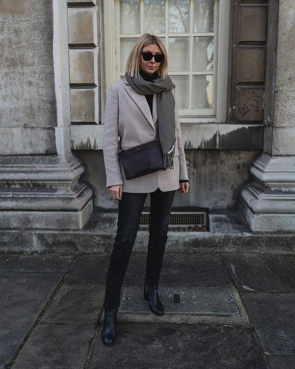 jacket grey blazer black boots black jeans black bag black turtleneck top scarf