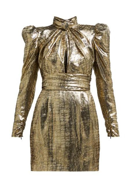 Dundas - Puffed Sleeve Silk Blend Lamé Mini Dress - Womens - Bronze