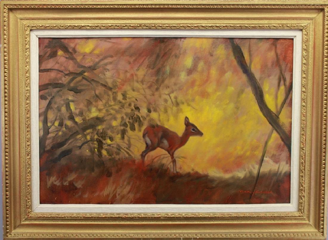 Henry Koehler Oil Painting Dik-Dik 1974 Wildenstein Gallery Verso American https://www.artdecornyc.com