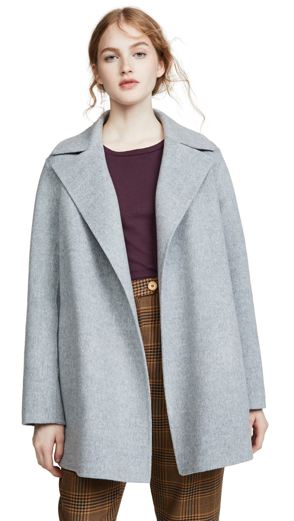 Theory Overlay DF Coat in blue / grey