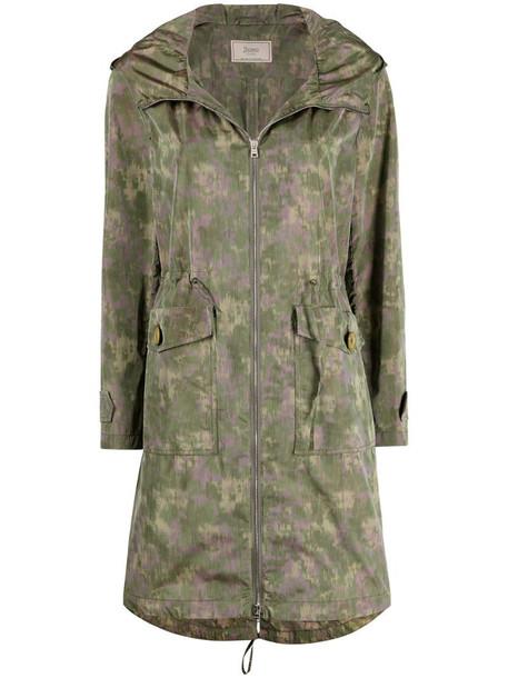 Herno camouflage print drawstring waist coat in green