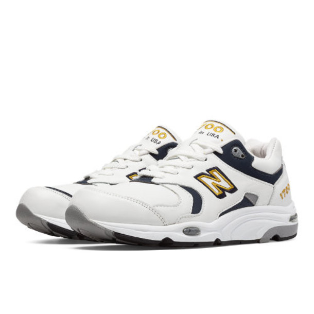 New Balance 1700 Heritage Leather Men's Made in USA Shoes - White/Black/Gold (M1700WN)
