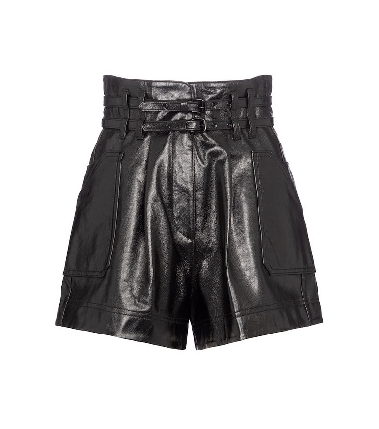 Philosophy Di Lorenzo Serafini High-rise belted leather shorts in black