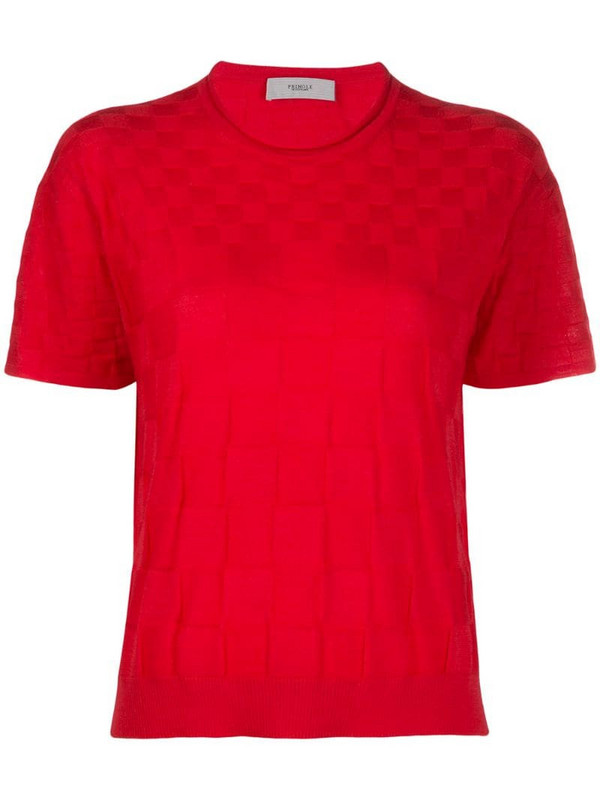 Pringle of Scotland checkerboard knitted T-shirt in pink