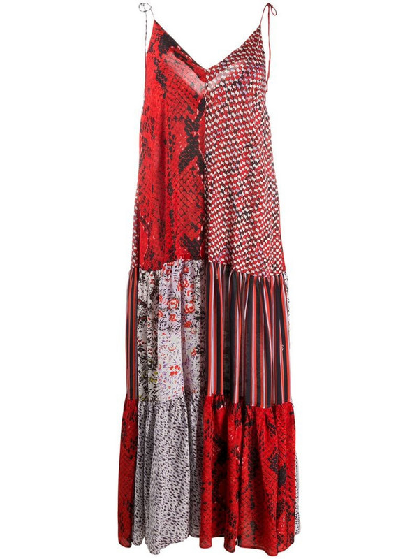 Lala Berlin patchwork python-print dress in red