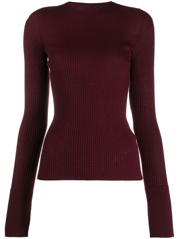 MRZ ribbed knit wool jumper in red