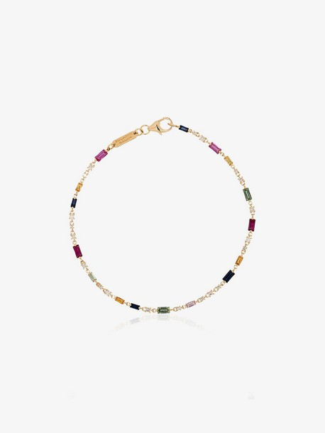 Suzanne Kalan 18K gold multicoloured diamond and sapphire rainbow bracelet