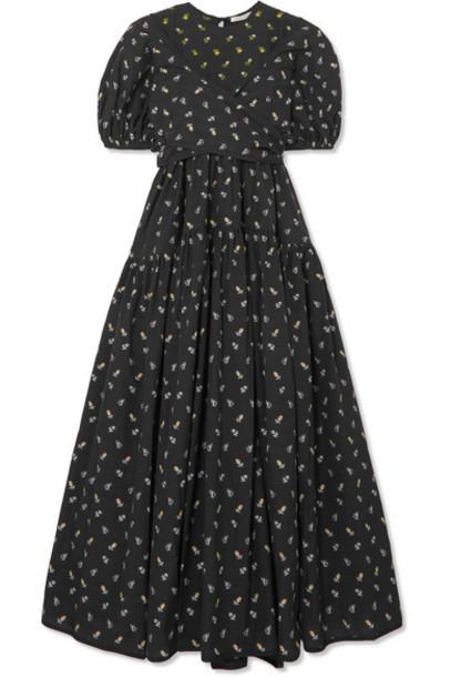 Cecilie Bahnsen - Anna Tie-detailed Tiered Fil Coupé Cotton-poplin Dress - Black