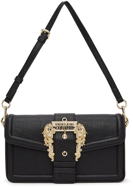 Versace Jeans Couture Black Buckle Long Shoulder Bag in nero