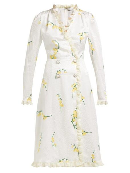Alessandra Rich - Floral Print Silk Devoré Midi Dress - Womens - Yellow Print