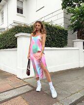 dress,midi dress,slit dress,white sneakers,bag