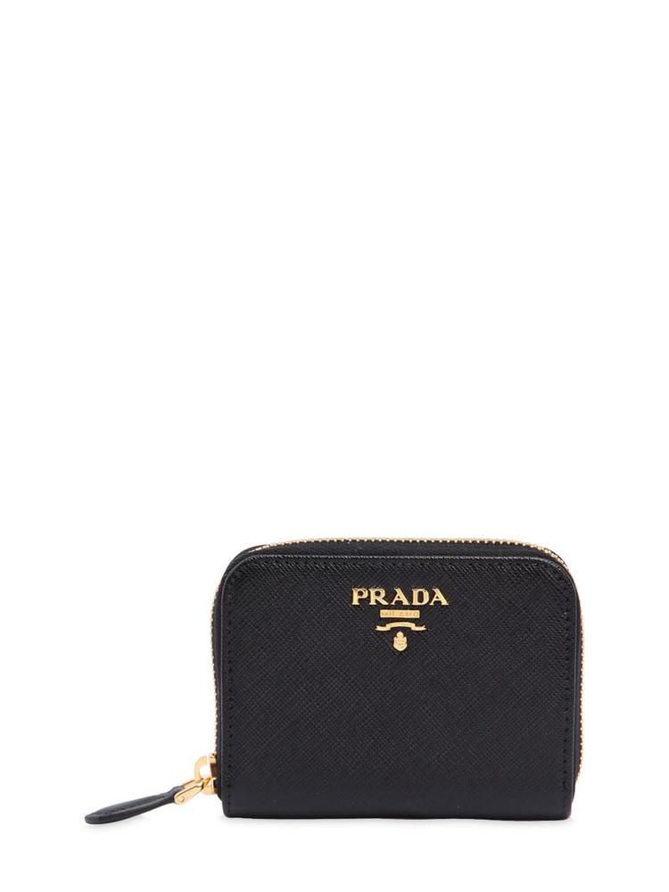 PRADA Small Saffiano Leather Coin Purse in black