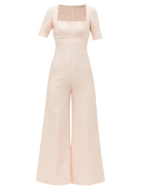 Emilia Wickstead - Audie Square Neck Sateen Crepe Jumpsuit - Womens - Light Pink