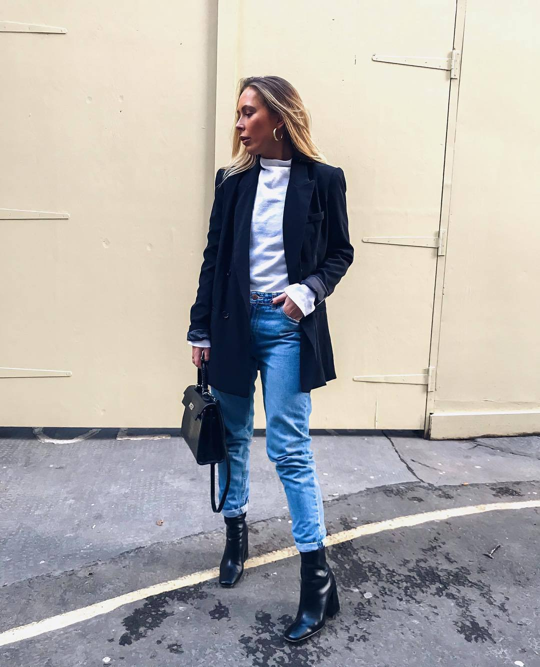 jacket black blazer double breasted black boots heel boots jeans black bag white top long sleeves