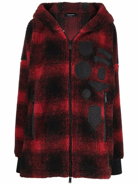 Dsquared2 hooded tartan coat in red