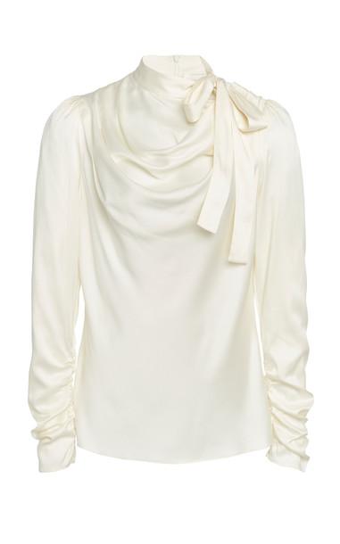 Zimmermann Draped Tie-Detailed Silk-Blend Top in white