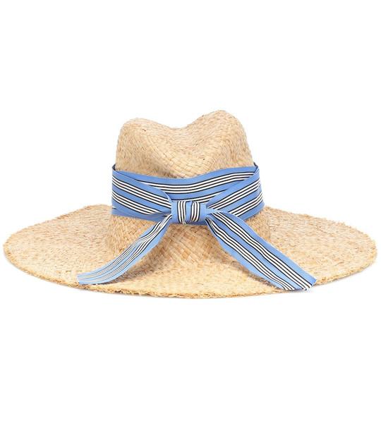 Lola Hats Striped First Aid raffia hat in neutrals