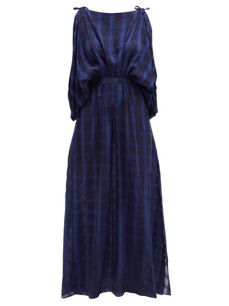 Love Binetti - Draped Checked Voile Maxi Dress - Womens - Dark Blue