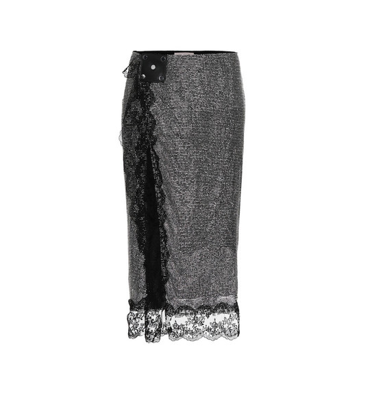 Christopher Kane Embellished mesh midi skirt in metallic