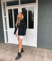 jacket,denim jacket,black boots,mini skirt,white skirt,crop tops