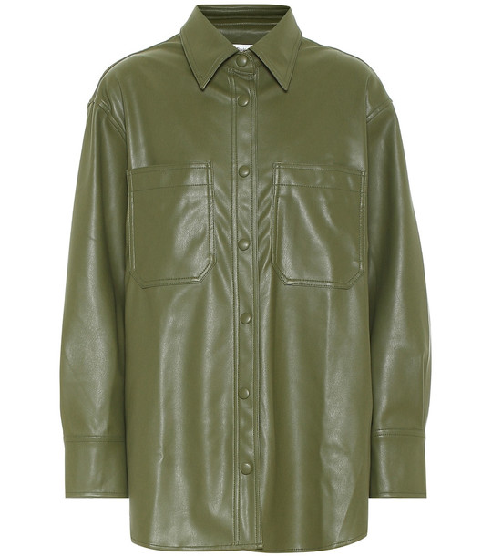 Frankie Shop Yoyo faux leather shirt in green