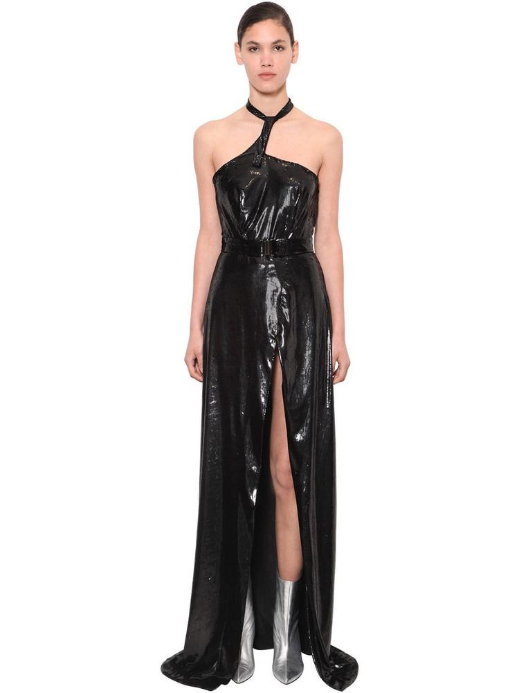 ANNAKIKI Huawei Flash Techno Slit Long Dress in black