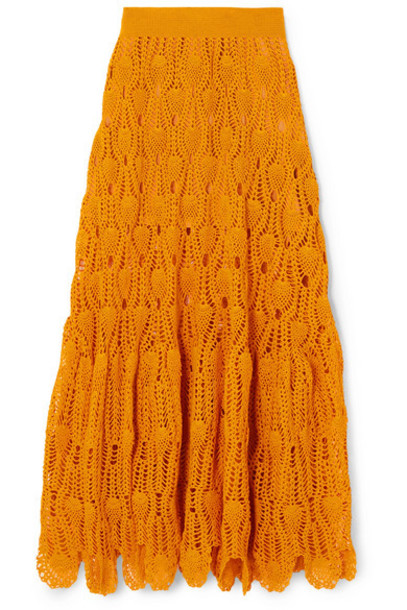 Loewe - Paula's Ibiza Crocheted Cotton Maxi Skirt - Orange