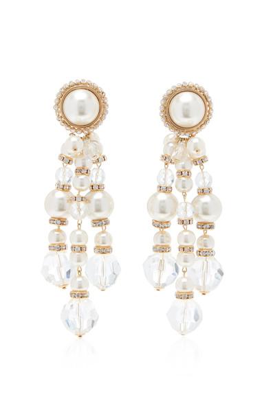 Alessandra Rich Glass Pearl Cascade Earrings in gold