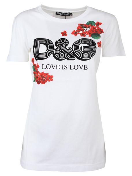 Dolce & Gabbana T-shirt Stampa Logo in bianco