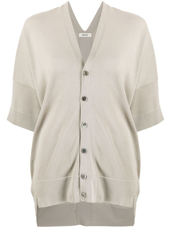 Zucca slouchy half-sleeve cardigan in grey