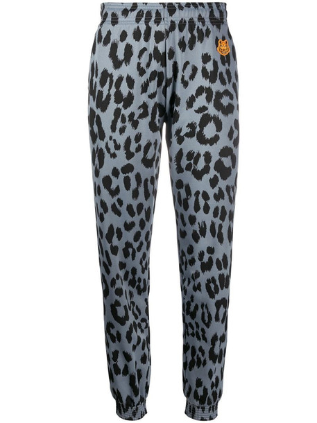 Kenzo leopard print trousers in grey