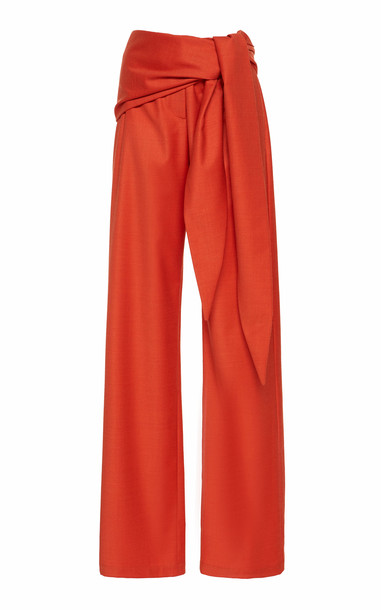 MATÉRIEL High-Waisted Tie Front Wool Pants Size: 34 in red